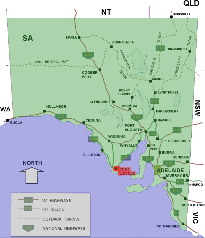 Port Lincoln Australia  city photos gallery : Port lincoln location map in South Australia