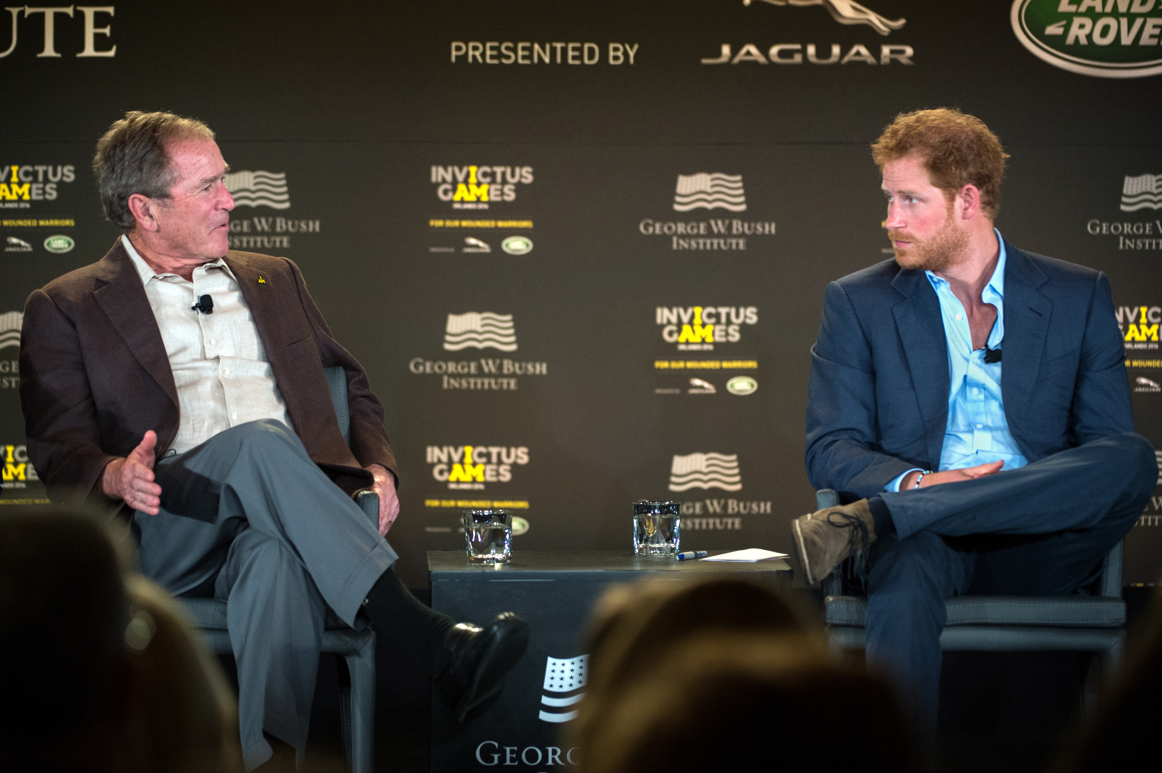 file president george w bush and prince harry of wales discuss the