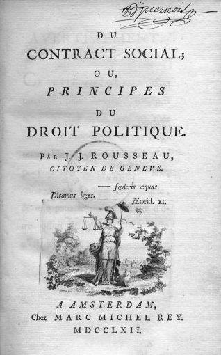 Title page of the genuine first octavo edition (first state with standing Justice) of Jean-Jacques Rousseau's Social Contract 1762