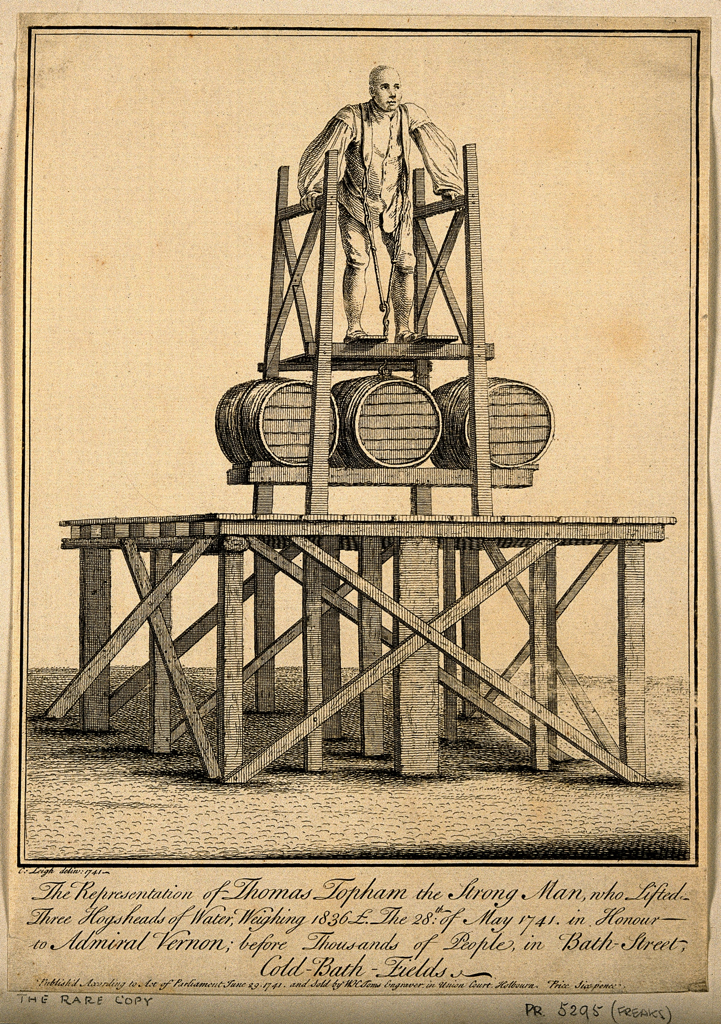 File:Thomas Topham, lifting 1836 lbs. Etching by C. Leigh, 1741