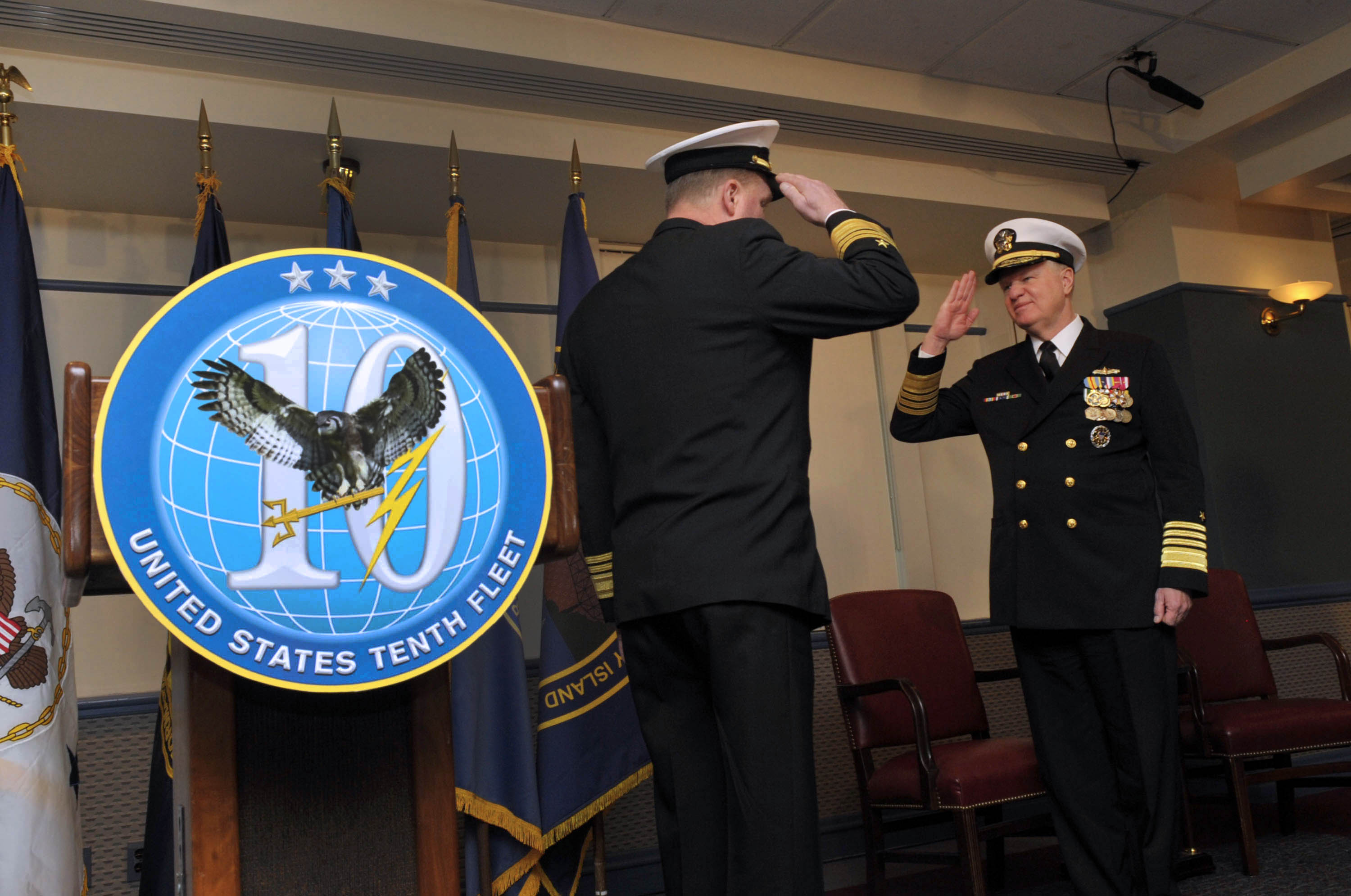 FileUS Navy 100129-N-8273J-048 Chief of Naval Operations (CNO) Adm. Gary Roughead salutes Vice Adm. Barry McCullough commander of U.S. Fleet Cyber Command ... : commander tenth fleet - memphite.com
