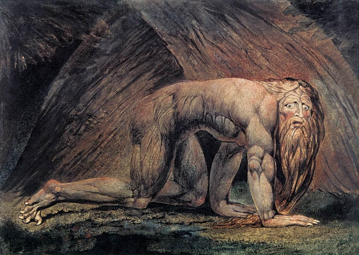Nabucodonosor II, Rei de Babilónia. Pintura de William Blake, c. 1805.