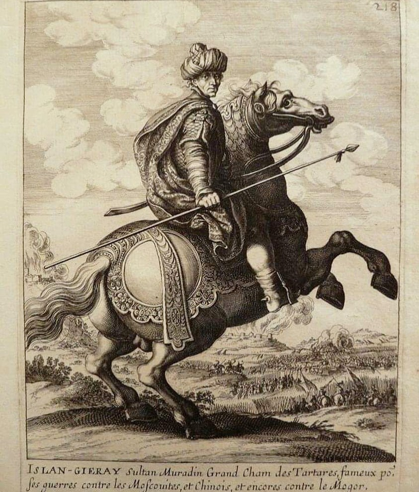 The great Crimean Khan Islam III Giray. Engraving of the 17th century