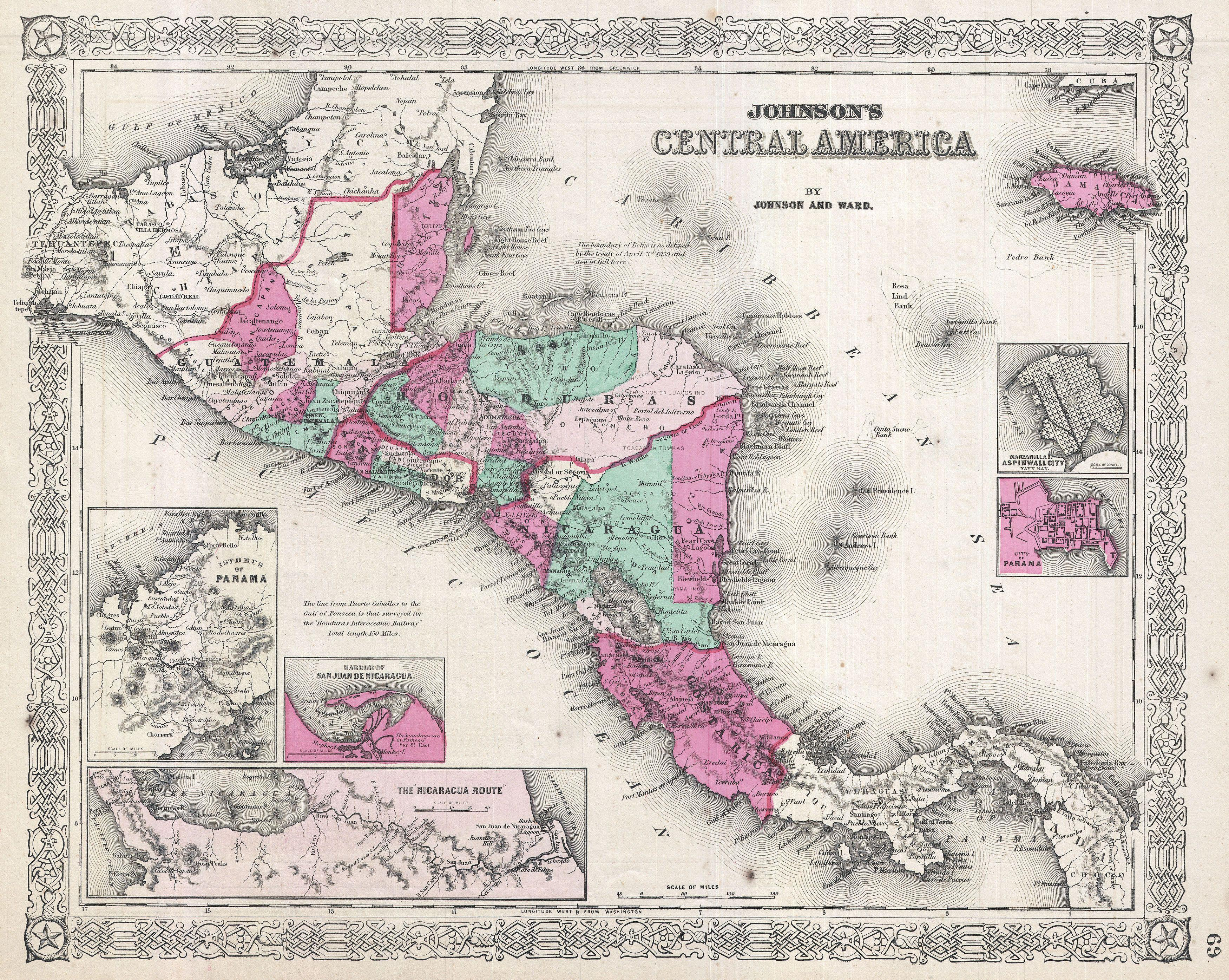 File Johnson Map Of Central America Geographicus - Old maps of america