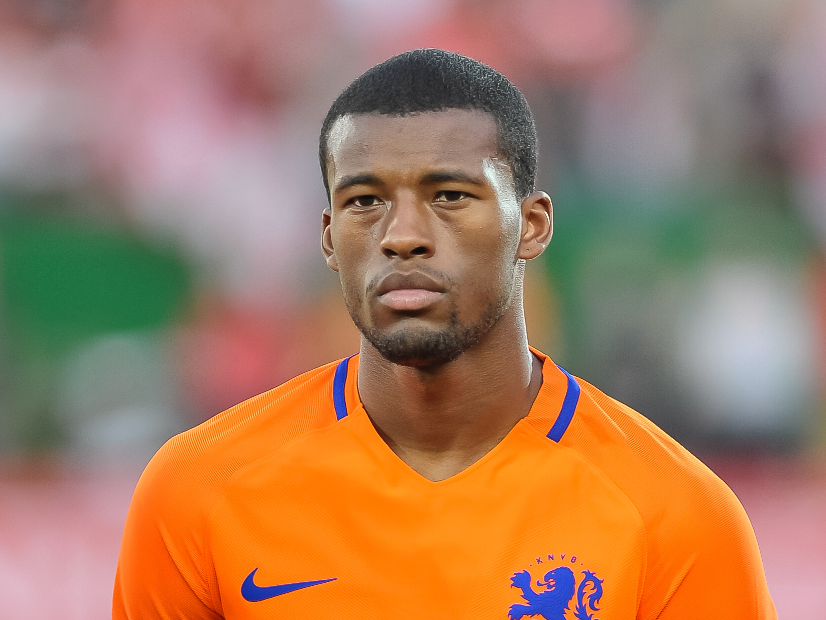 The 28-year old son of father (?) and mother(?) Georginio Wijnaldum in 2019 photo. Georginio Wijnaldum earned a  million dollar salary - leaving the net worth at 3 million in 2019