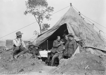 A dental officer of the 34th Australian Dental Unit, working at an advanced post