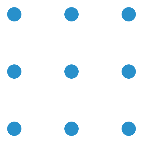 Nine dots in a 3 by 3 grid.