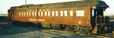 A Pullman rail car, in traditional brown.