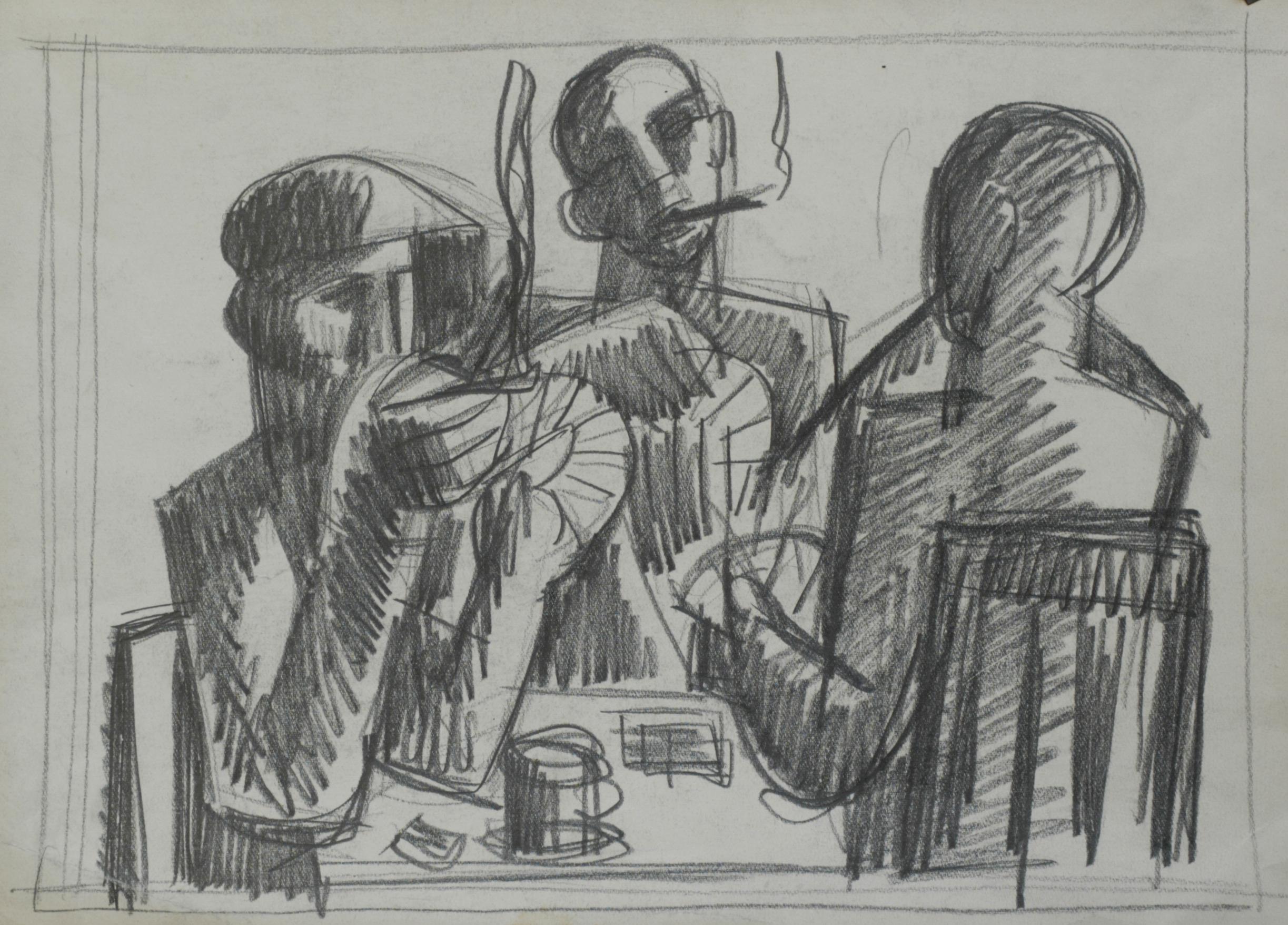 File:Bedrich Novotny Studie k hráčům karet počátek 60. let kresba tužkou na papíře, 27 x 37 cm.jpg