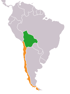 Map indicating locations of Bolivia and Chile