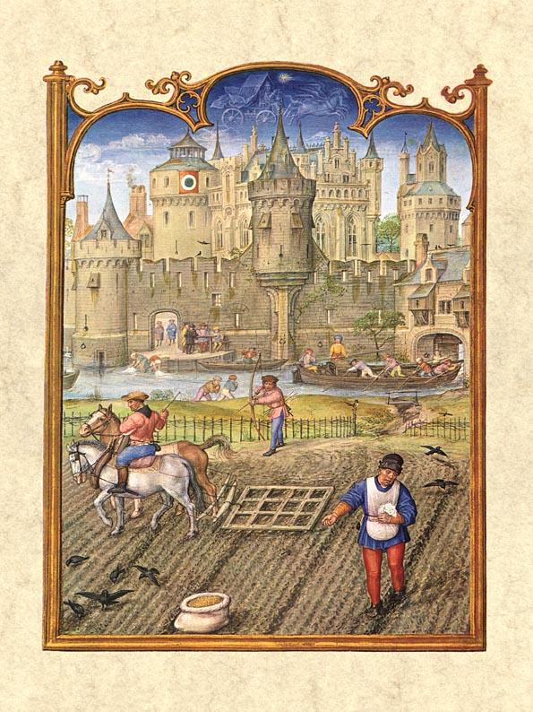 """Eggen des Feldes, säen des Wintergetreides und Vertreiben der Saatkrähen: Der Oktober im """"Breviarium Grimani"""", um 1510. (Venedig, Biblioteca Marciana, fol. 11v.)"""