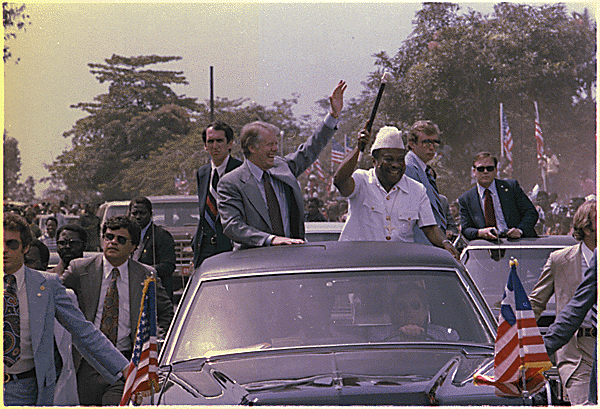 Tolbert during U.S. President Jimmy Carter's visit to Monrovia in April 1978.