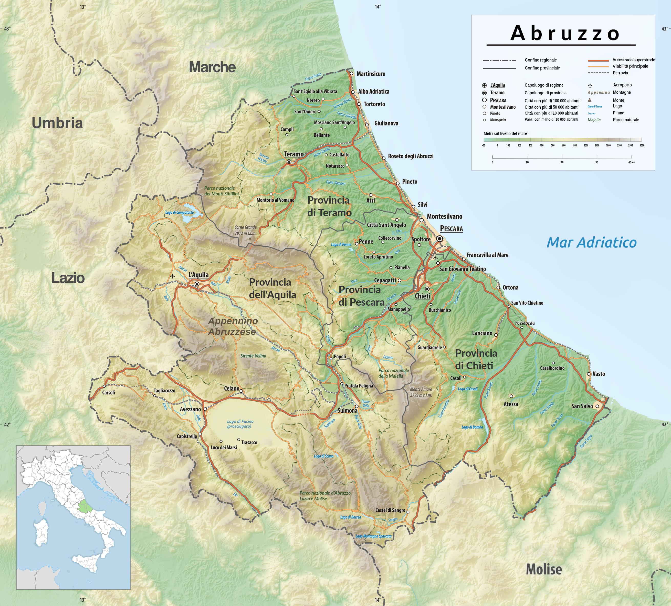 Cartina Geografica Roccaraso.Geografia Dell Abruzzo Wikipedia