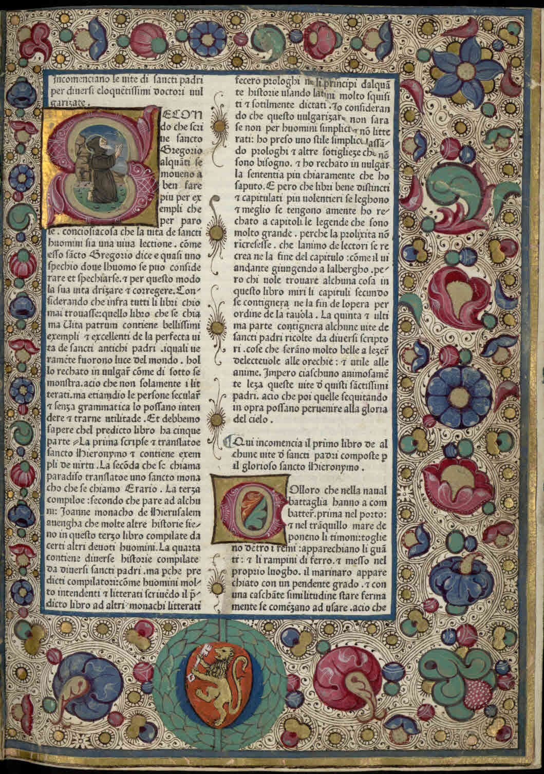 ''First page of the Italian vernacular translation of the Vitae patrum'', before 1474