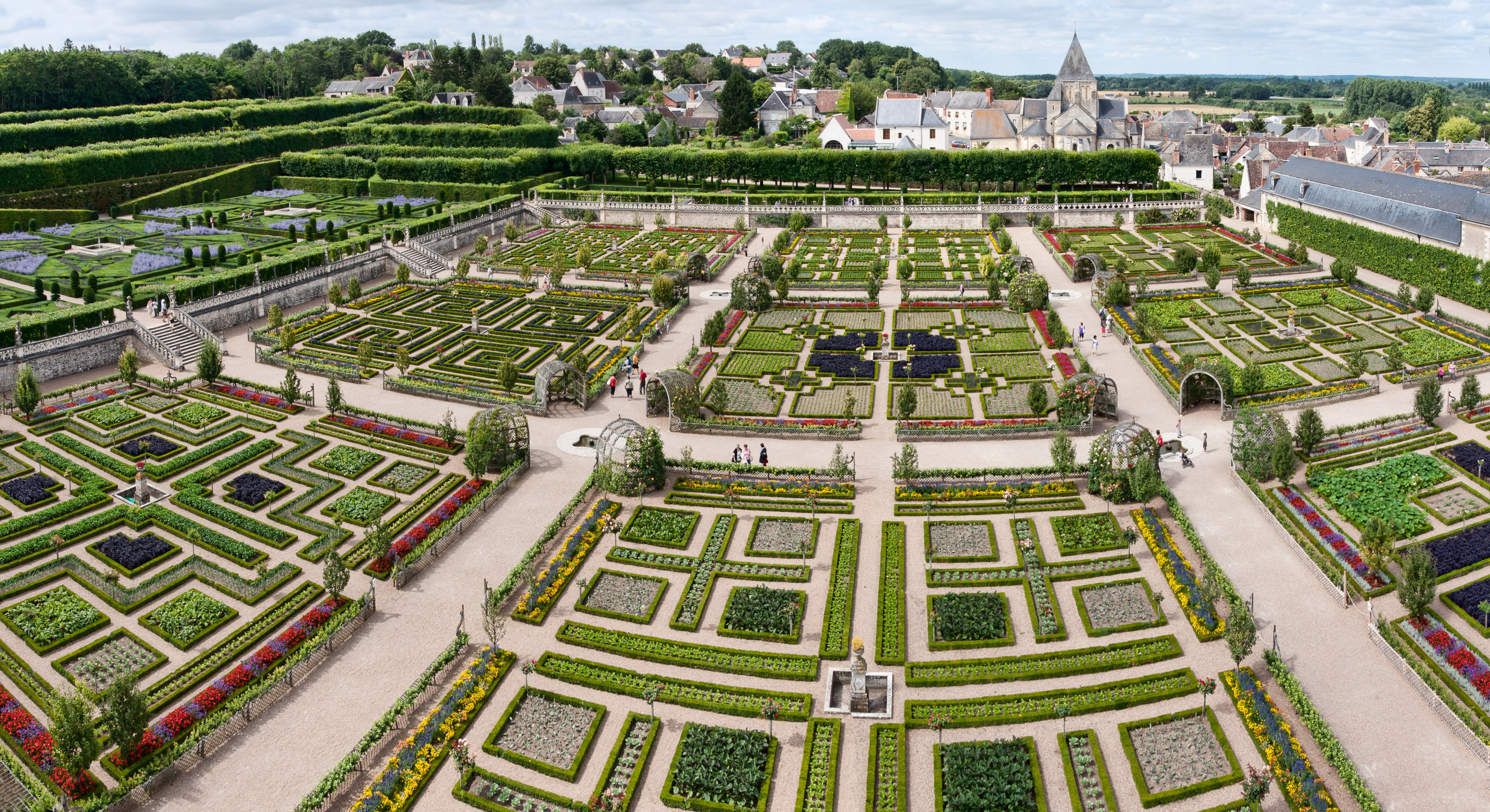 File chateau villandry jardins panoramique jpg wikimedia for Jardin a la francaise chambord