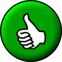English: A white thumbs-up inside a green circ...