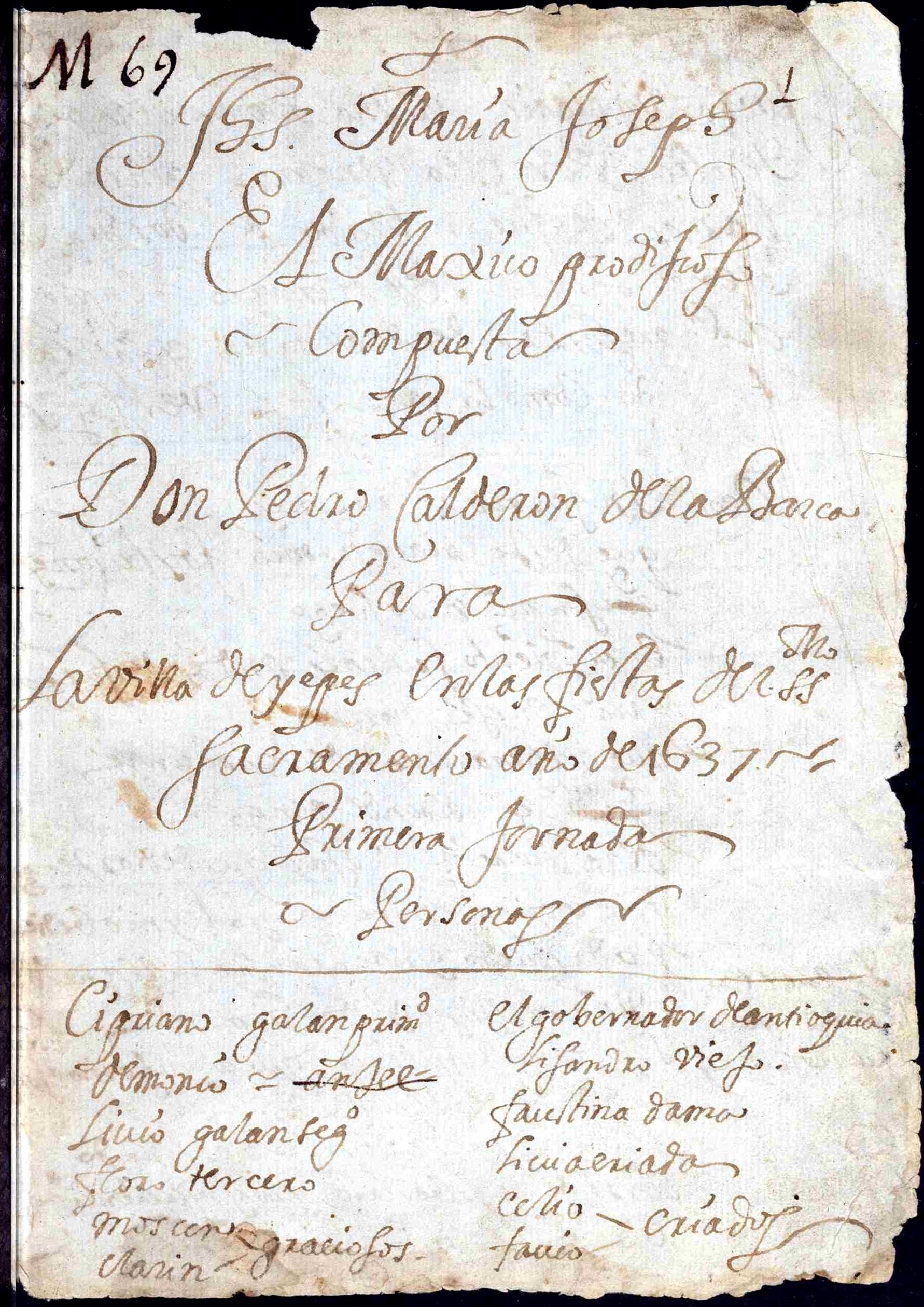Autógrafo de El mágico prodigioso, 1637.