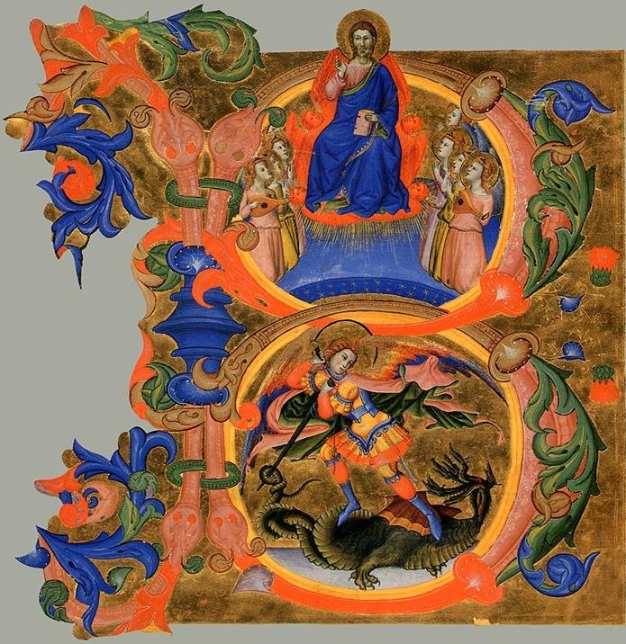 Don Silvestro dei Gherarducci - Gradual from Santa Maria degli Angeli - folio 80 - Saint Michael Fighting the Dragon in an Initial B (Abegg-Stiftung).jpg
