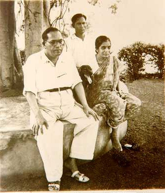 Image result for Ambedkar with his wife Dr. Savita Ambedkar, servant Sudama and their pet.