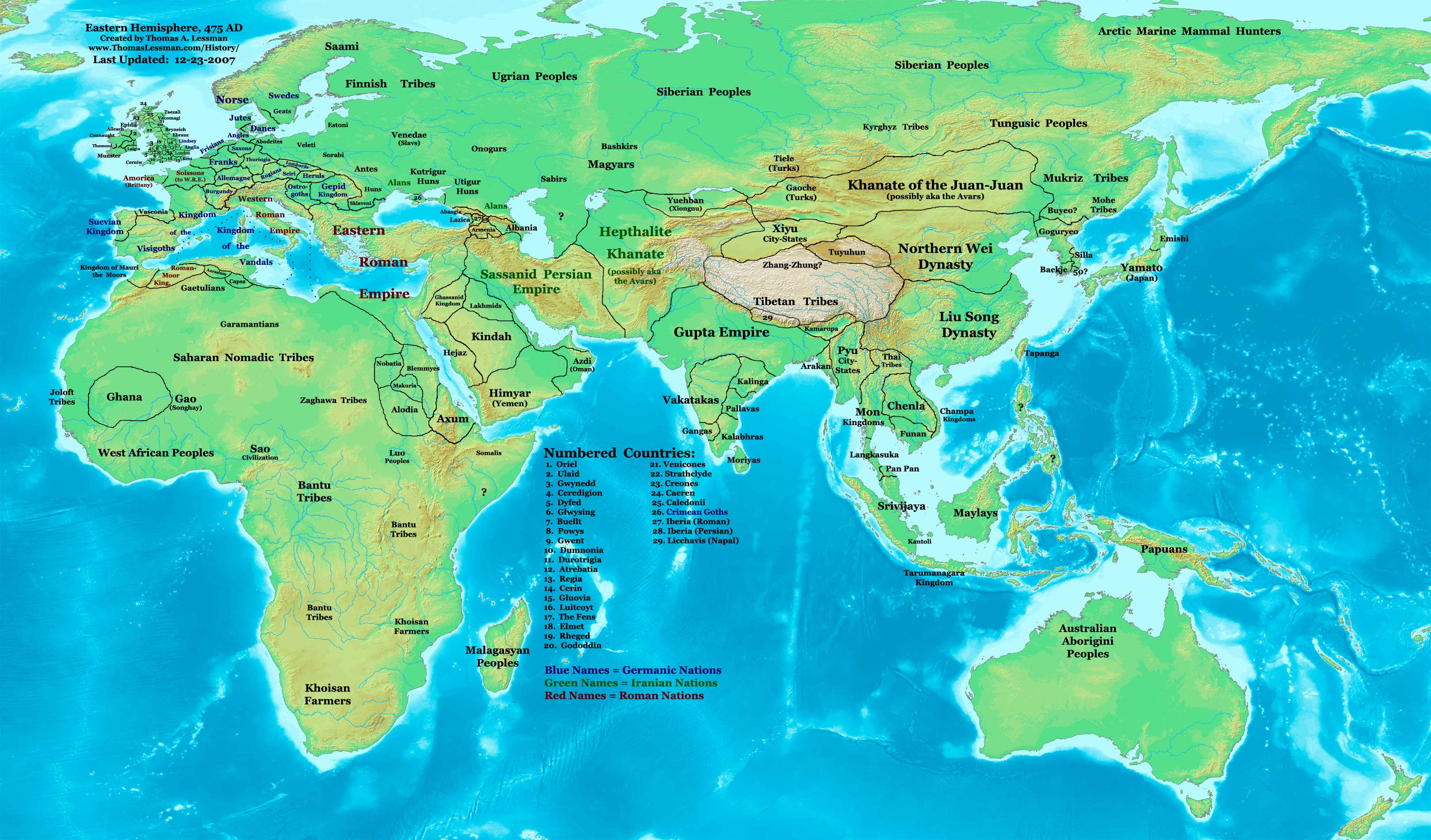 Eastern Hemisphere in 476 AD.