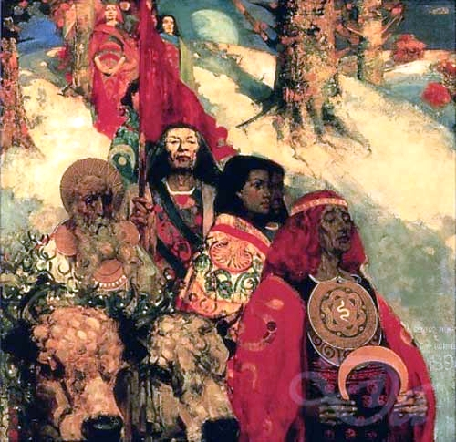 An image by Edward Atkinson Horne depicting druids bringing in the mistletoe.