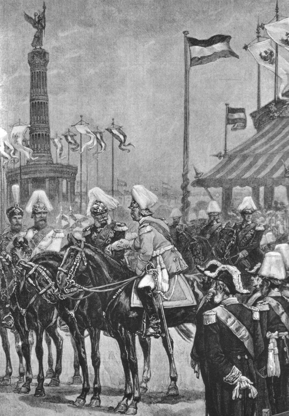 Einweihung der Siegessäule in Berlin am 2. September 1873. Im Vordergrund zu Pferde: Kaiser Wilhelm I. (links) und Otto von Bismarck (rechts)