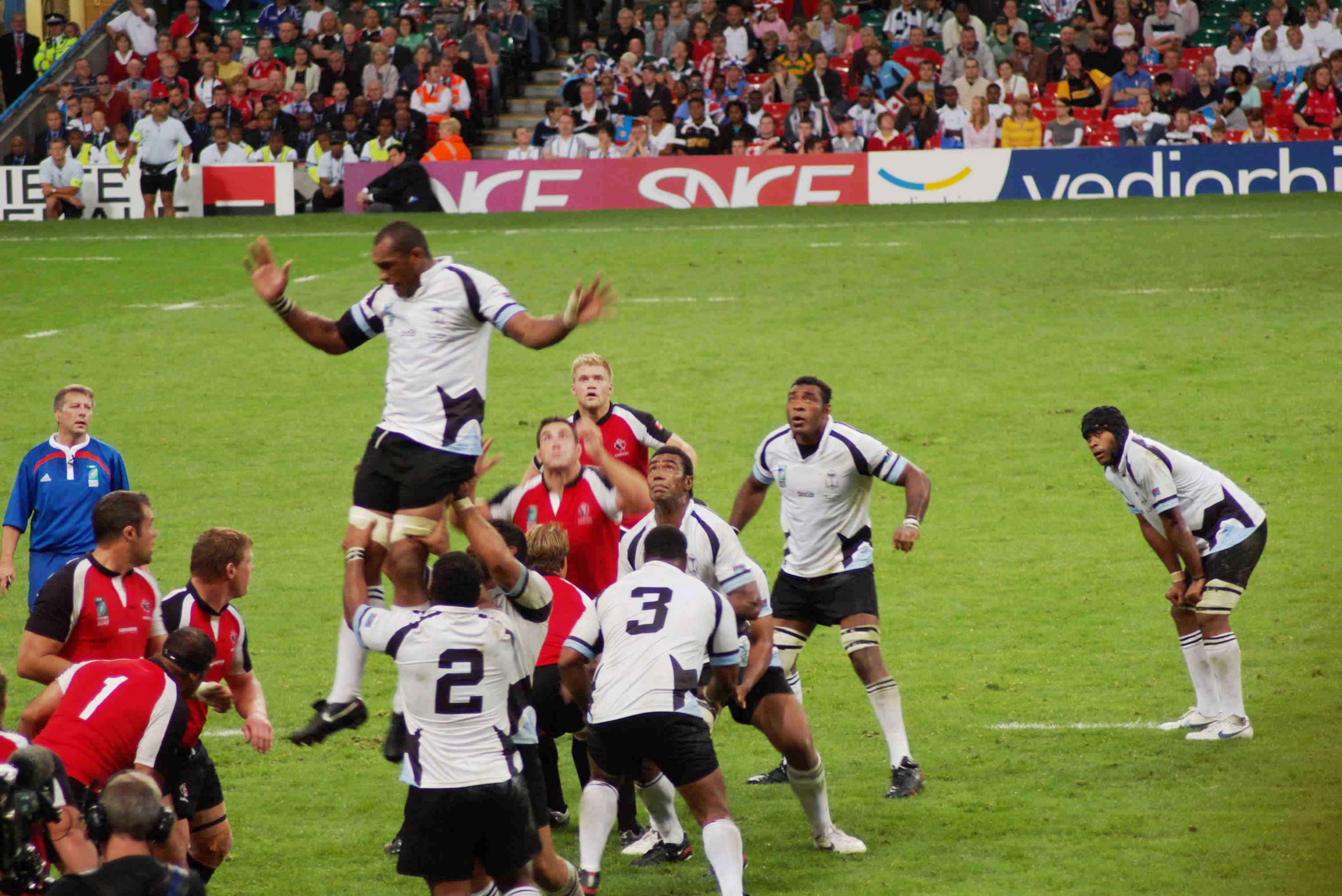 The Fiji national rugby union team during the 2007 Rugby World Cup playing against Canada.