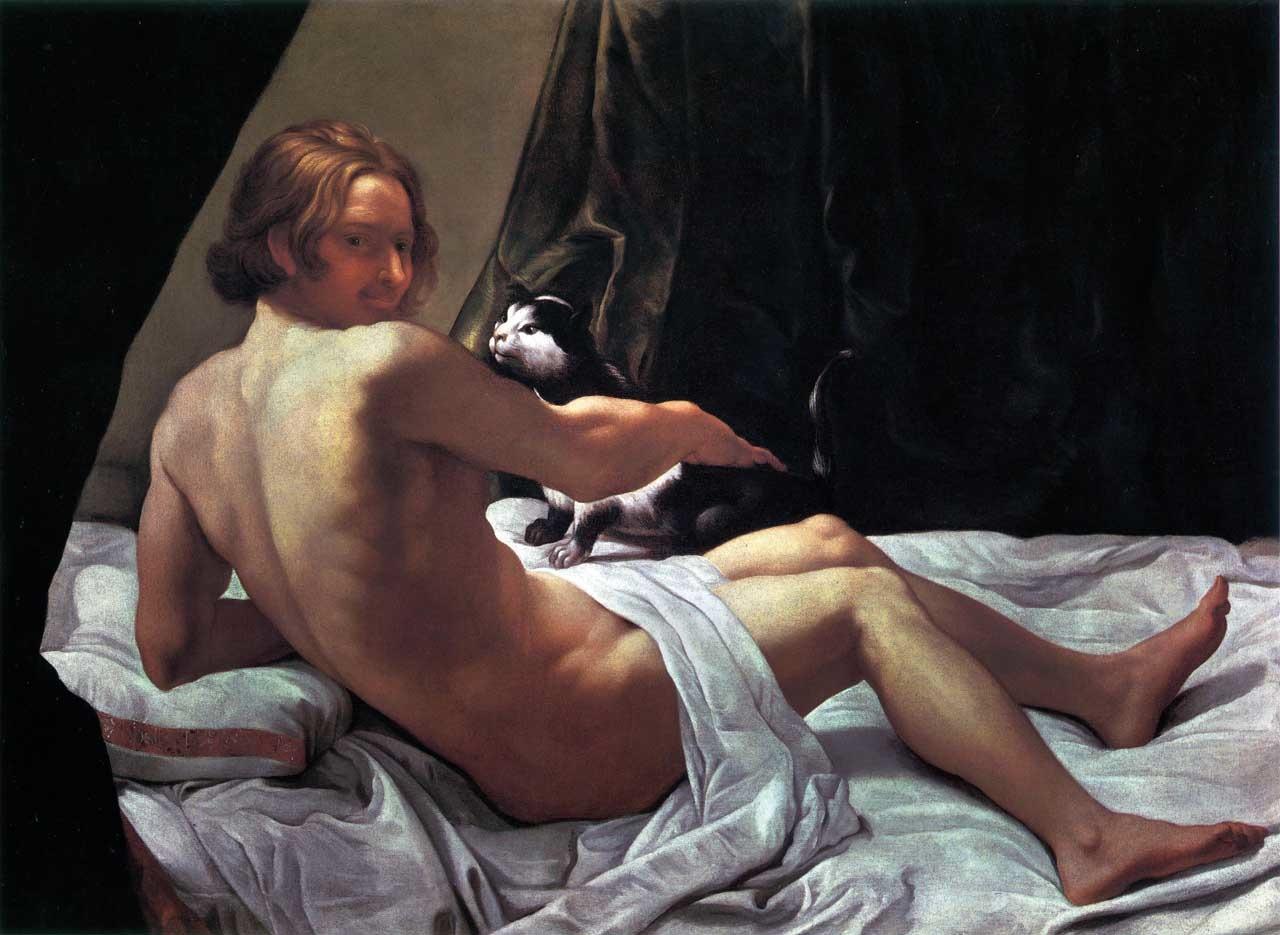file:giovane nudo sul letto con un gatto - lanfranco - wikimedia
