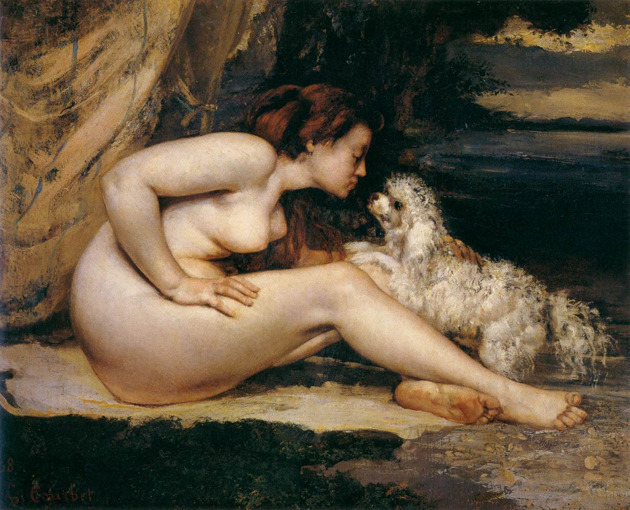 woman and dog: