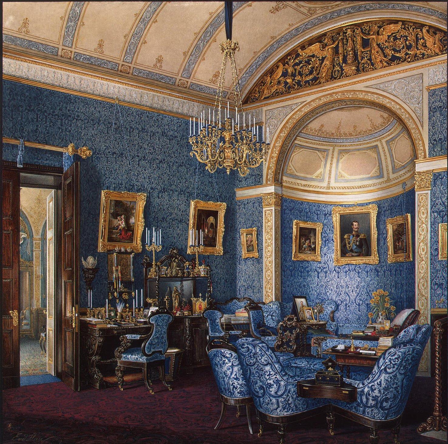 Interiors Of The Winter Palace. The Boudoir Of Grand Princess Maria