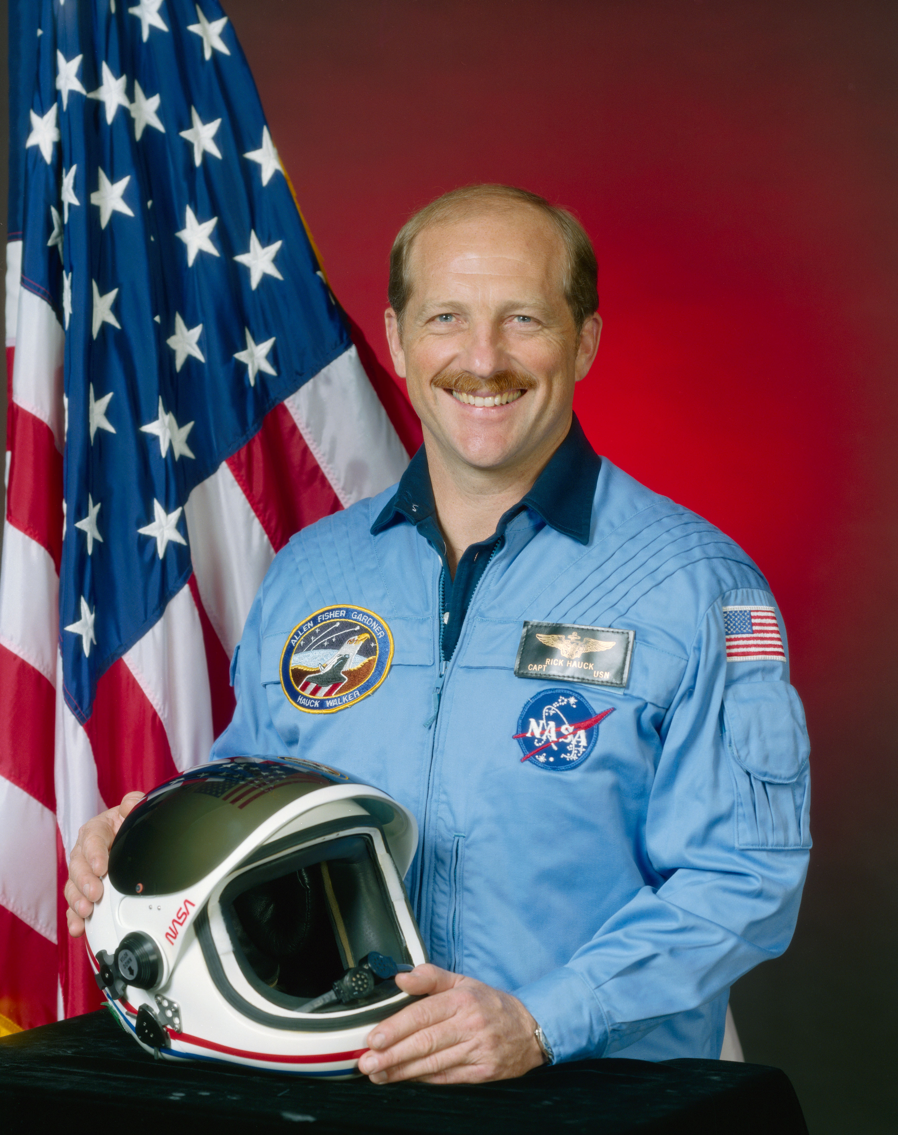 Astronaut Rick Hauck, NASA photo (26 June 1985) Source: Wikipedia www.jsc.nasa.gov page unavailable April 2019) Hauck-fh.jpg