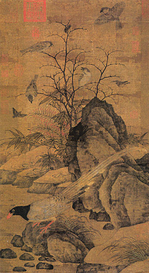 Huang Zhucai, Mountain Magpie, Sparrows and Bramble.jpg