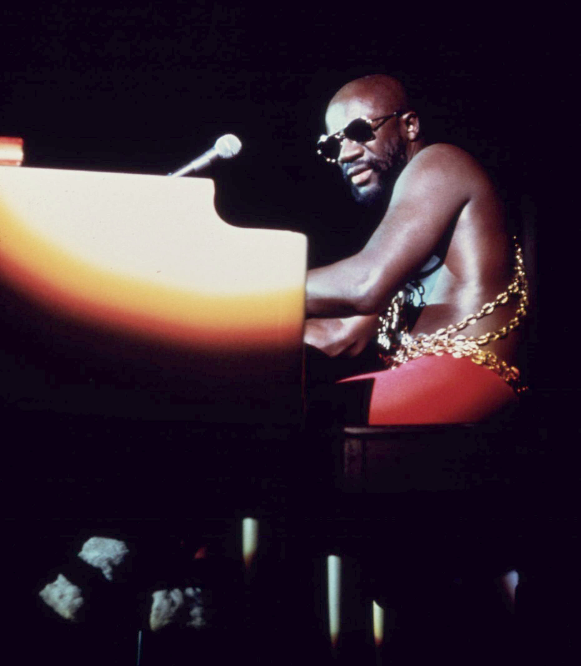 Black soul singer Isaac Hayes performs at the ...
