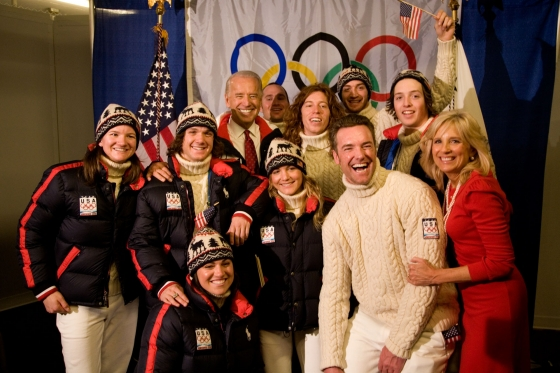 Joe & Jill Biden with 2010 Winter Olympics US Snowboarding team 2010-02-12