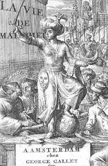 This illustration is taken from La vie de Mahomet, by M. Prideaux, published in 1699. It shows Mohammed holding a sword and a crescent while trampling on a globe, a cross, and the Ten Commandments