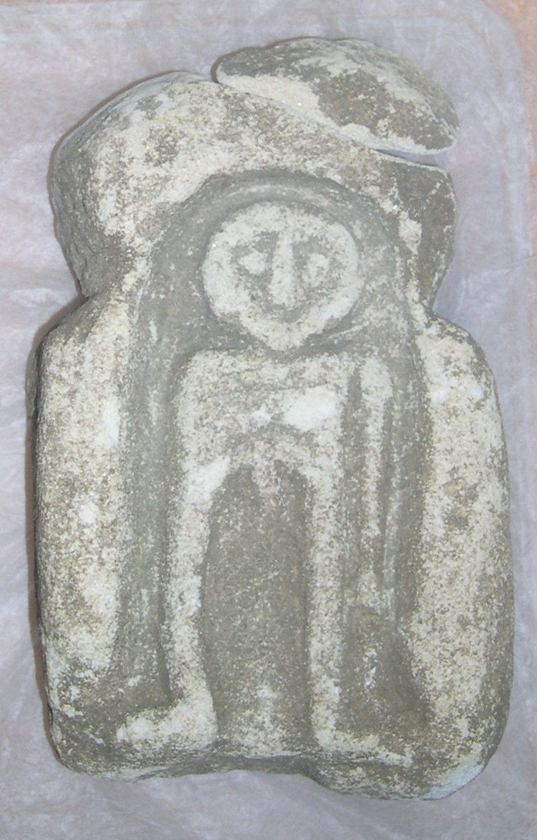 File limestone figurative carving probably an altar piece