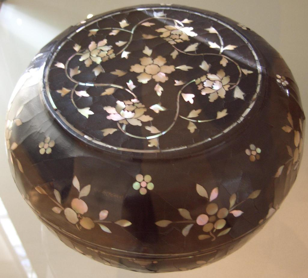 Chinese Mother of Pearl Lacquer Box with Peony Decor