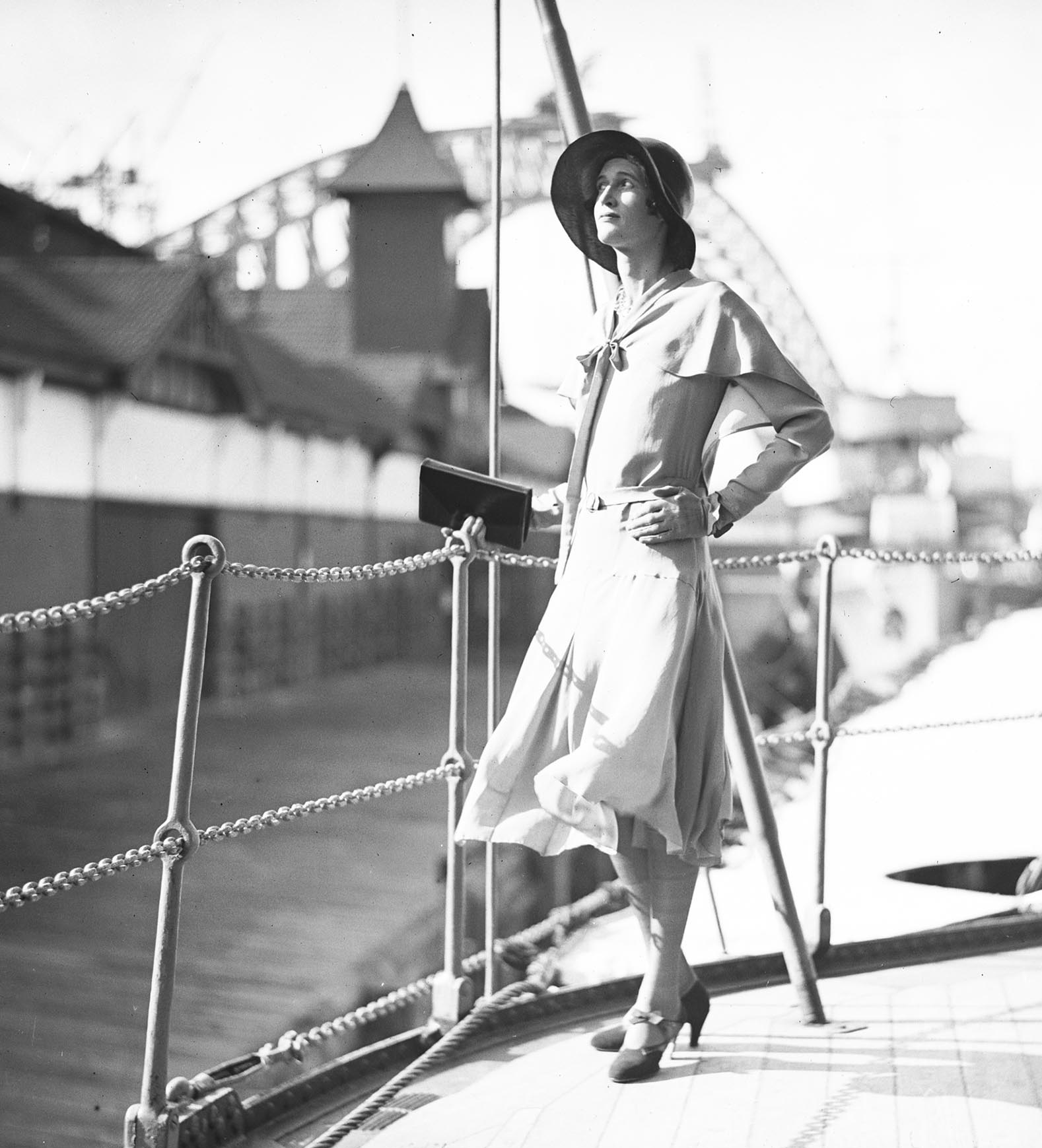Designer and socialite Hera Roberts on the deck of the HNLMS JAVA, Sydney  Harbour, 1930