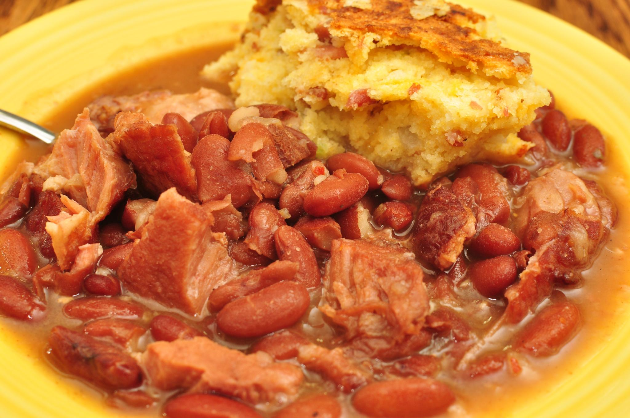 File:Mmm... red beans and cured ham hocks with cheddar bacon cornbread ...