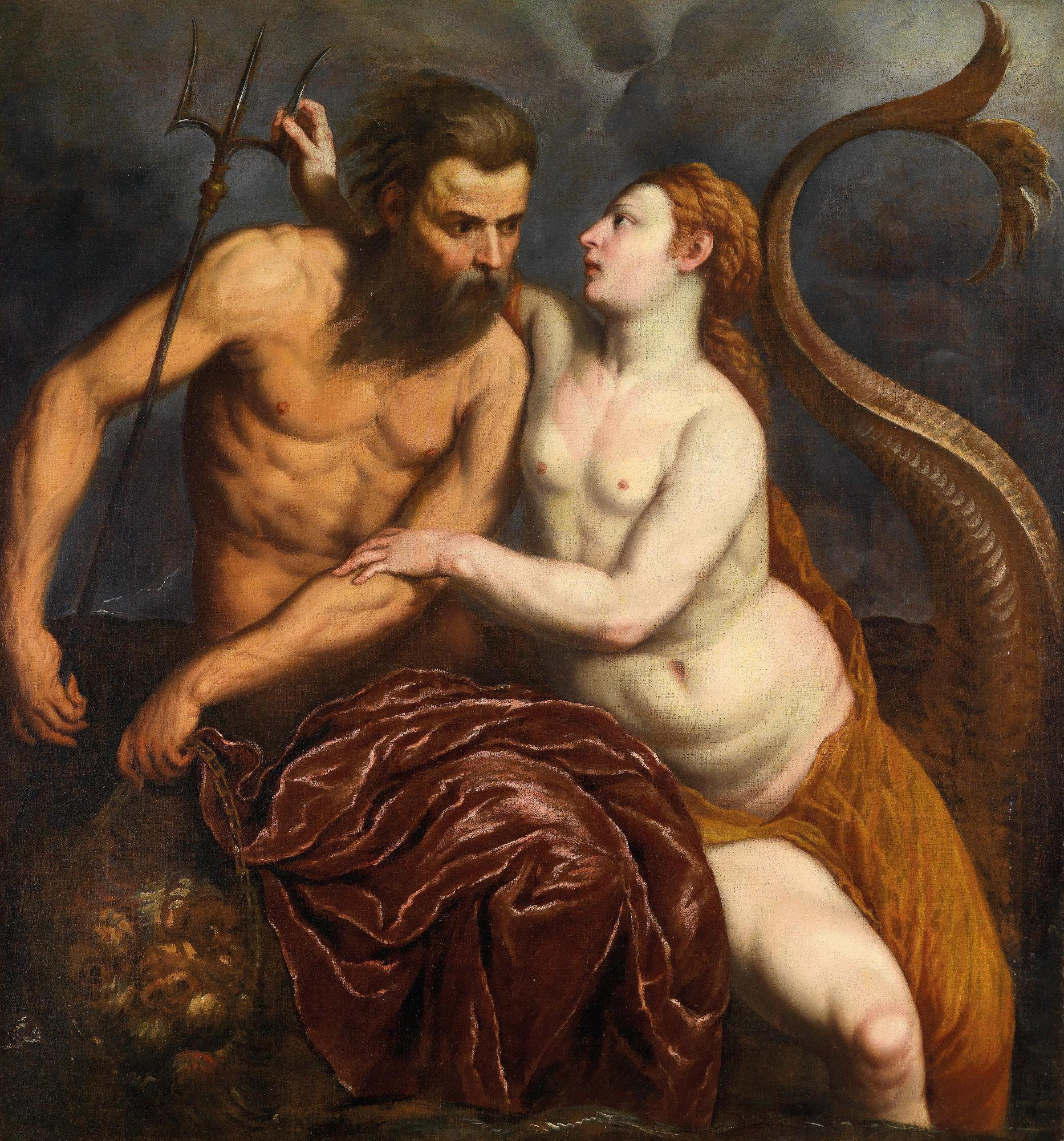 An image of Poseidon and Amphitrite, one of the Greek water nymphs known as nereids.