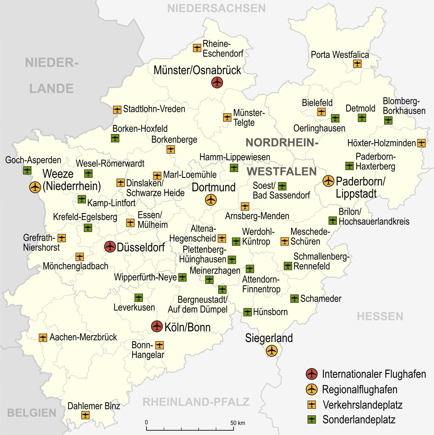 Nordrhein Westfalen Karte.Datei Nordrhein Westfalen Flughafen Und Landeplatze Png