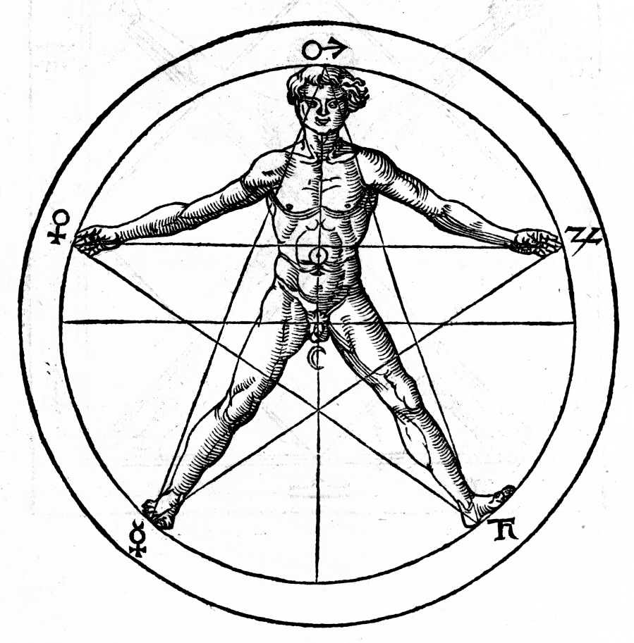 The drawing of a man's body in a pentagram suggests relationships to the golden ratio