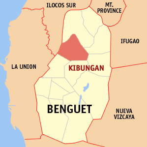 Mapa na Benguet ya nanengneng so location na Kibungan