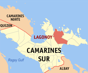 Map of Camarines Sur showing the location of Lagonoy