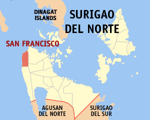 Map of Surigao del Norte showing the location of San Francisco