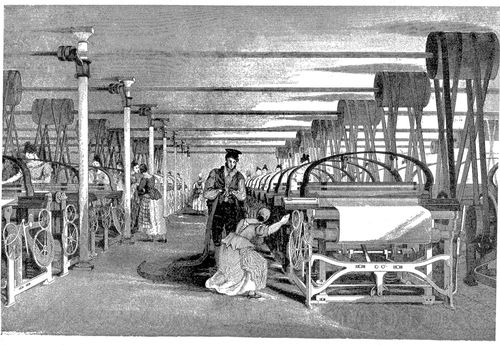 Illustration of power loom weaving, 1835; image in the public domain