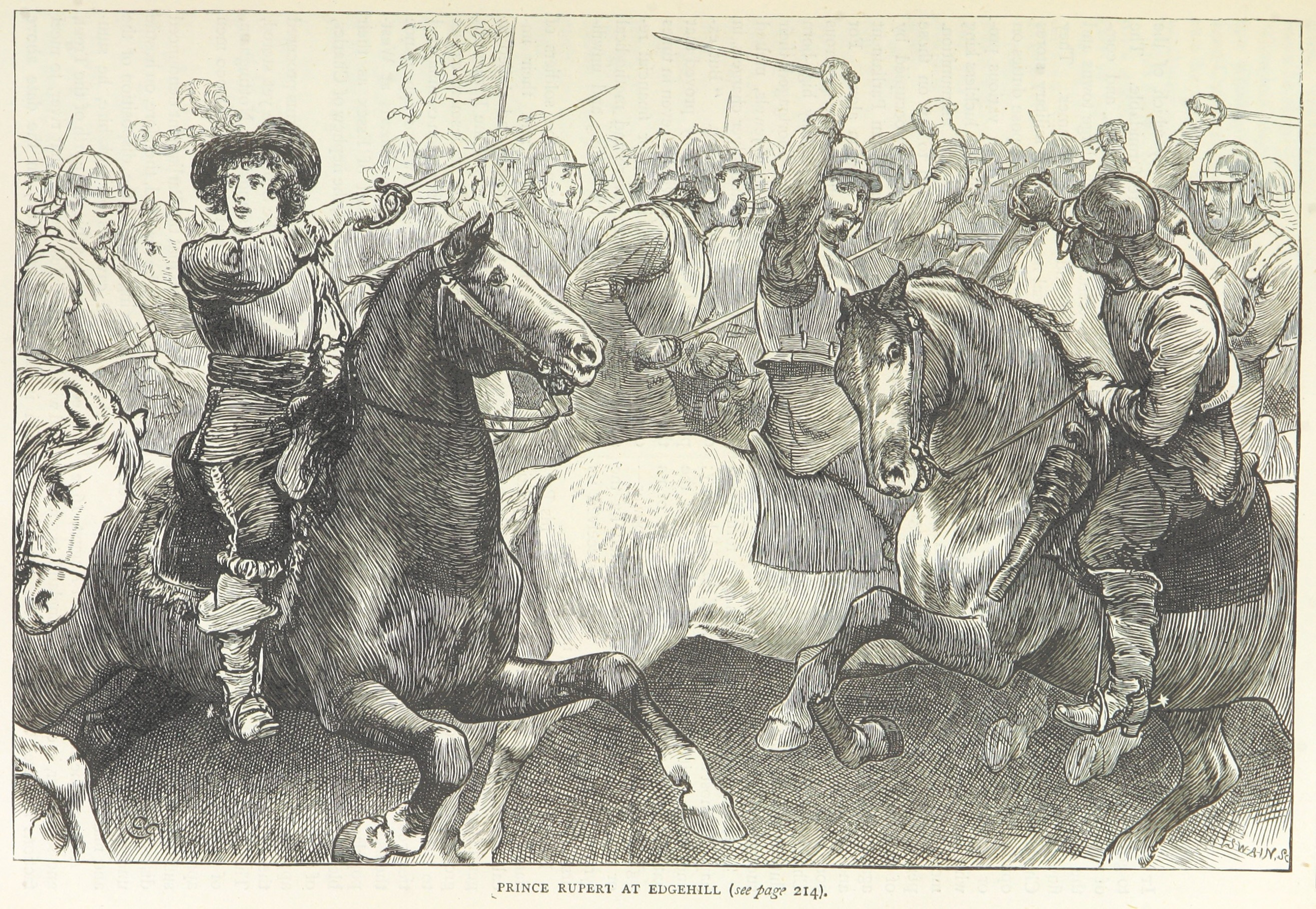 An image of Prince Rupert fighting at the Battle of Edgehill.