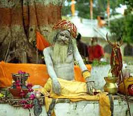 Les yogis shivaïtes frottent leur corps avec des cendres, symboles de mort et de renaissance, leur emblème est le trisula.