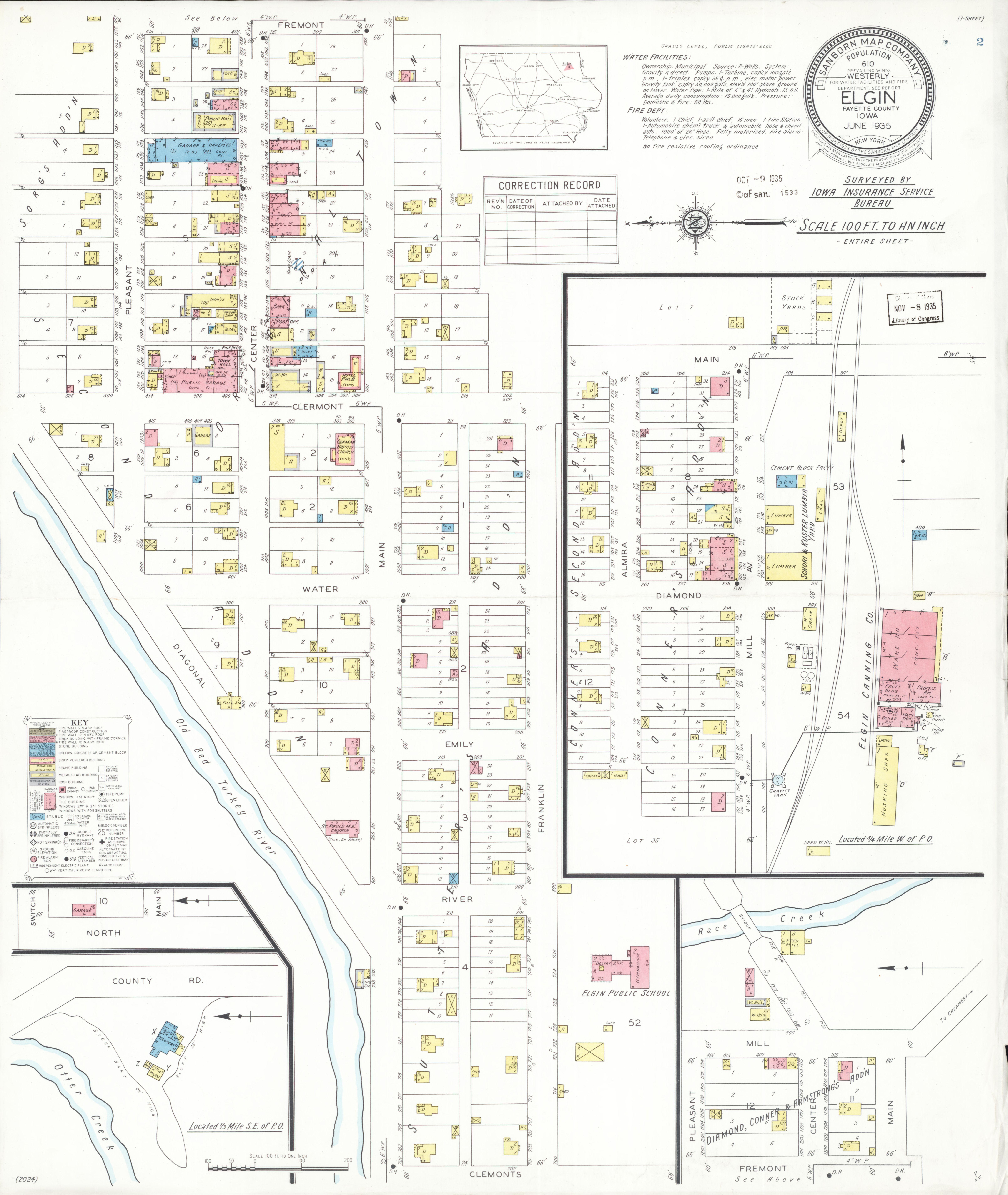 Fayette Iowa Map.File Sanborn Fire Insurance Map From Elgin Fayette County Iowa