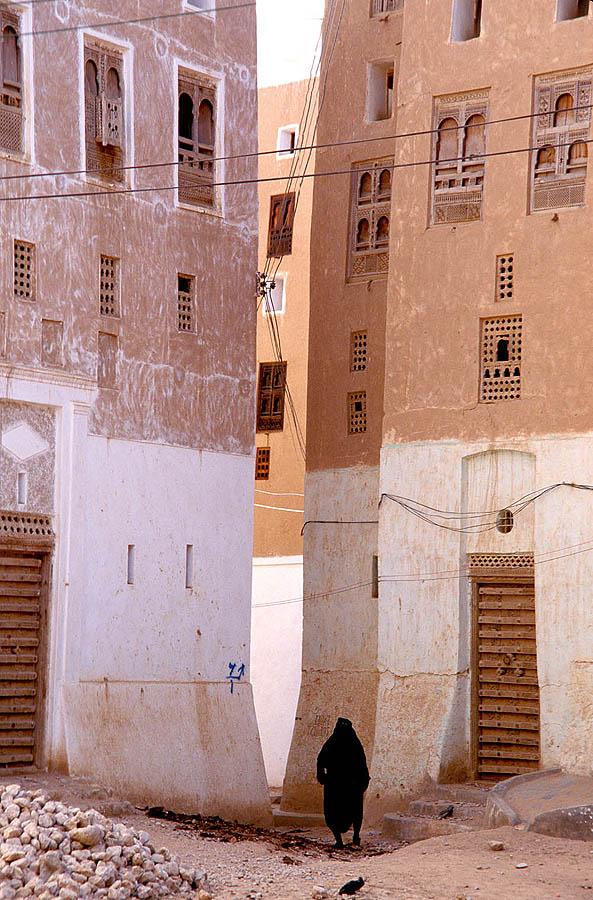 Buildings inside the high-rise town of Shibam,...